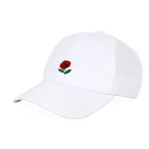 JOOWEN ROSE FLOWER Embroidery Embroidered Adjustable Hat Baseball Cap  (White) 5f0fd5fbe539