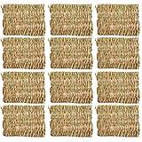 YRW 12 Confezioni di Tappetini nel Tessuto di Coniglio-Stuoia di Paglia Biancheria da Letto per Animali Nido-Porcellino D'India Cincillà Scoiattolo Criceto Gatto e Cane