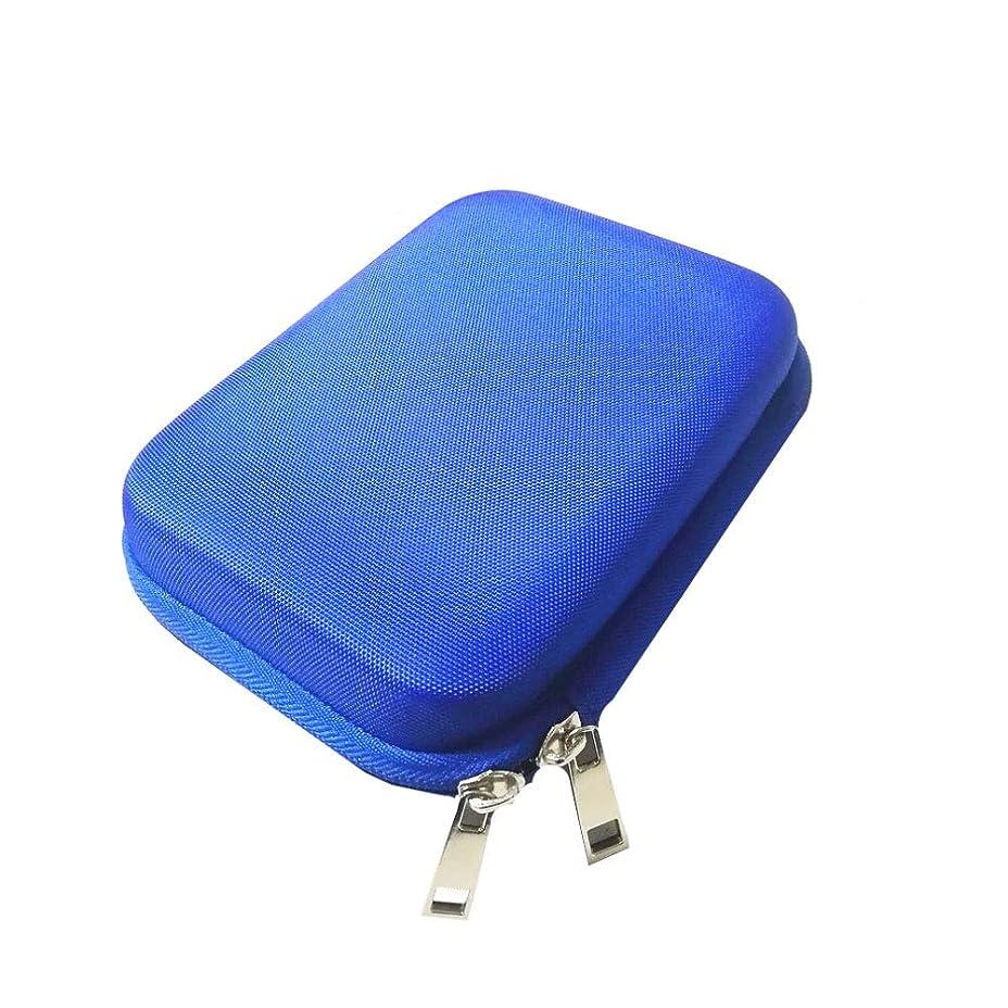 シェトランド諸島日保証保持ポーチに精油の携帯用ケース10のローラーボトル(青)