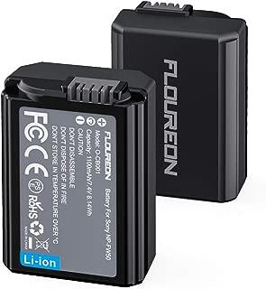 NP-FW50 Sony Camera Battery 2pack FLOUREON Camera Battery for Sony A6000, A6500, A6300, A6400, A7, A7II, A7RII, A7SII, A7S, A7S2, A7R, A7R2, A55, A5100, NEX-3N, NEX-5R, SLT-A33, RX10, etc (2X1100mAh)
