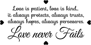 Love is patient, love is kind, it always protects, always trusts, always hopes, always preserves, love never fails. Removable inspiration family vinyl wall art I decor f sticker mural gift illustrated