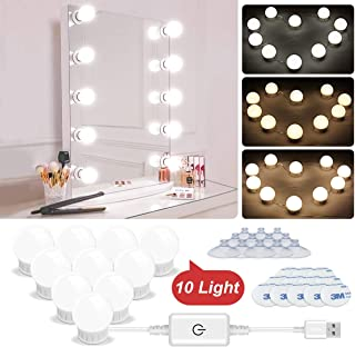 LED Vanity Lights - Hollywood Style Vanity Mirror Lights Makeup Light Kit with 10 Dimmable Light Bulbs and Adjustable Length USB Power Supply Plug in Lighting Fixture Strip for Makeup Dressing Table
