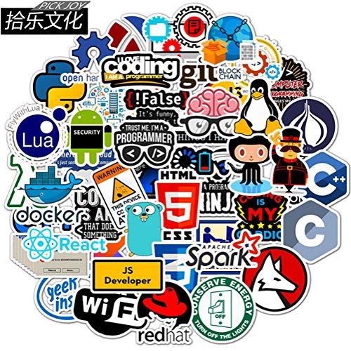 QIANGWEI 50stks Developer Programmeur Sticker Hacker Internet Sticker Mobiele Telefoon Laptop Fiets Helm Applique Skateboard Gitaar Koelkast