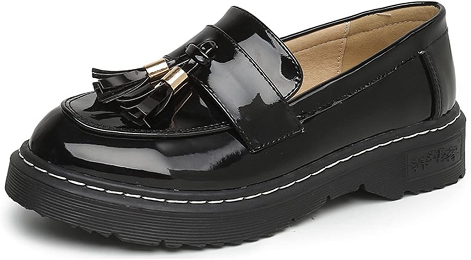 Btrada Women Tassel Oxford shoes Round Toe Wingtip Casual Loafer Oxford shoes