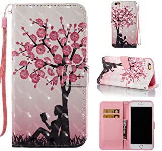 Case for iPhone 6 Plus/6S Plus,Durable Slim Kickstand Card Holder Dual Layer 3D Printing Pu Leather Wallet Case with Wrist Strap Magnetic Closure Compatible with Apple iPhone 6 Plus/6S Plus -Tree