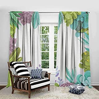 FOEYESEE Room Darkening Curtains for Bedroom Cactus Succulents Framework Different Types Gardening Bedding Plants Theme Seasonal Image Multicolor Cartoon Printed Nursery Room W72 xL63