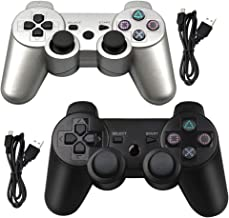 Tidoom PS3 Controller 2 Pack Wireless Bluetooth 6-Axis Gamepad Controllers Compatible for Playstation 3 Dualshock 3 Silver + Black