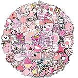Lindo graffiti rosa impermeable monopatín viaje maleta teléfono portátil equipaje pegatinas lindo niños niña juguetes 100 piezas
