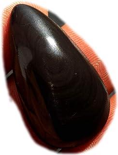 RASIO Cabujón de obsidiana arco iris negro, piedra preciosa semipreciosa natural, forma de pera 87 quilates 44 x 33 x 9 mm...