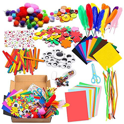 Bastelset Kinder 1000Pcs Kids DIY Art Craft Box Crafting Supplies Kit DIY Projects Scrapbooking Bastelset Glitter Pompons, Federn, Knöpfe, Pailletten für Kinder DIY Kunstbedarf, Pfeifenreiniger