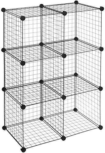 Amazon Basics 6 Cube Grid Wire Storage Shelves, Black