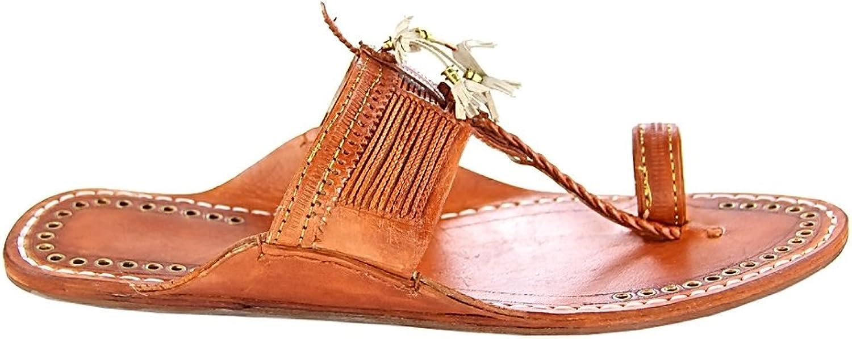 KOLHAPURI CHAPPAL Original Designer's Royal Look tan color fine Braids Flat Heel Ladies Slipper Sandal