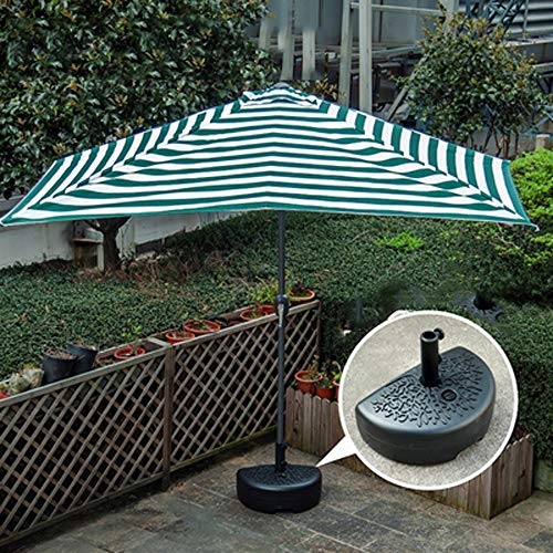Wanjia Tragbare Sonnenschirme Balkon Sonnenschirme Terrassenwand Halber Halbrunder Regenschirm mit Kurbelgriff, Sonnenschutz für kleine Terrasse Garten UV-Schutz,D