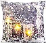 infactory Deko Weihnachten: Deko-Kissen mit Winter-Motiv, 3 LEDs, Batteriebetrieb, 45 x 45 cm...