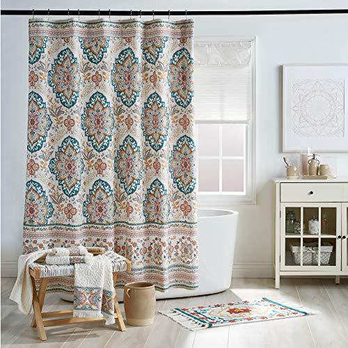 "Peri Home Kilim Boho Bath Decor 100% Cotton Fabric Shower Curtain, 72"" W x 72"" L, Multi"