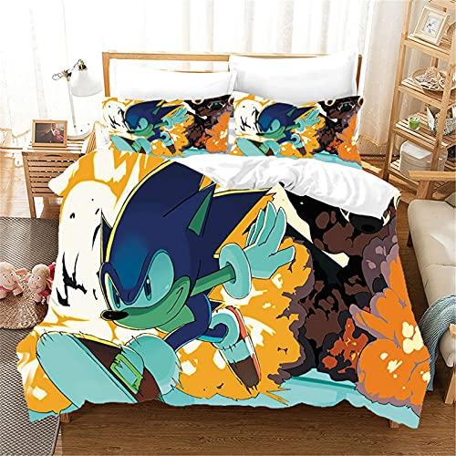 ZJJIAM Sonic Animation Ropa de cama infantil, diseño de erizo en 3D, funda nórdica suave y cómoda, para cama doble, regalo (S-12,135 x 200 cm + 2 x 50 x 75 cm)