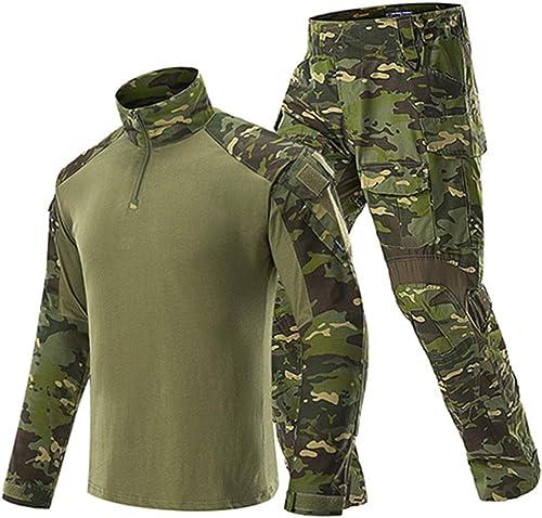 JUNSHIFU Ensemble de vêteHommests Militaires Uniformes Tactiques pour Hommes Ensemble de Costume T-Shirts de Camouflage à Manches Longues