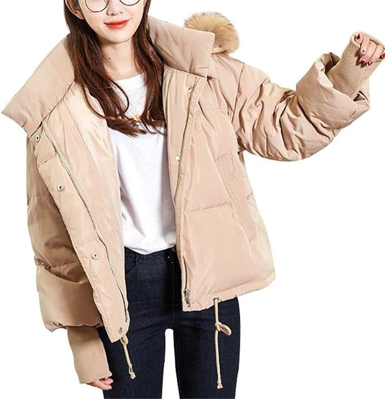 Loozo Winter Women Fashion Short Fur Collar Hooded Wild Loose 75% Duck Down Jacket