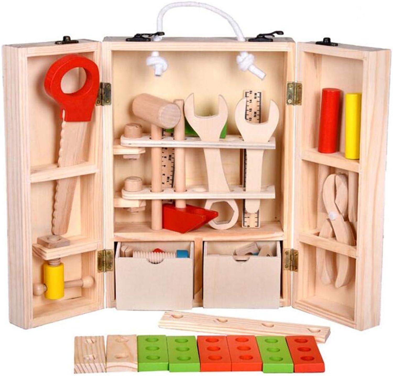 Zhangcaiyun Kinderspielzeug, das Fliesen aufbaut Holz DIY Tragbare Simulation Toolbox Set Kombination Reparatur Kit Kinder Demontage Lernspielzeug Bausteine eingestellt