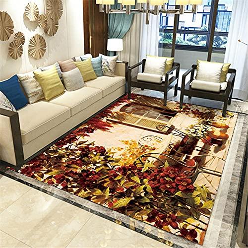 Alfombra Decoracion Dormitorio Matrimonio Alfombra de Tinta Amarilla Negra marrón Salón Antideslizante y fácil de Limpiar alfombras recibidor Alfombra Cuarto 60*90cm