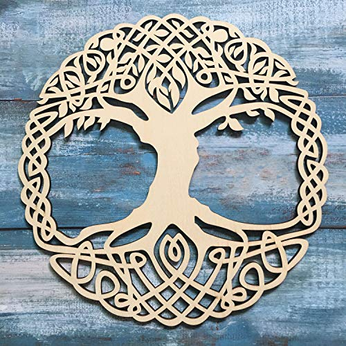 Simurg 11.5' Celtic Knot Tree of Life Wooden Wall Art Indoor and Outdoor Wall Hanging Sculpture