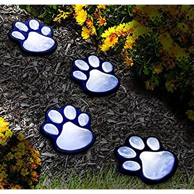 NICE 4 solar dog animal paw print Lights garden lantern LED path 3  light lamp