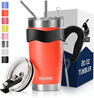 Koodee 20 oz Orange Tumbler Insulated Smoothie Cup with Straws, Sip Lid and Leak Proof Straw Lid, Straws Brush, Handle, Gift Box (20 oz, Carrot Orange)