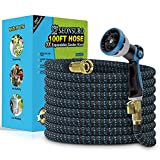 """Expandable Garden Hose 100FT, Flexible Water Hose with 10 Function Nozzle, 3/4"""" Solid Brass Fittings and Superior Strength 3750D Fabric, Leak-proof Lightweight Expanding Outdoor Hose"""