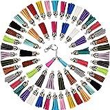 Ciondoli Con Nappe in Pelle 100 Pezzi Nappe Decorative Piccole Nappe Portachiavi per Accessori 40MM(Colori Assortiti )