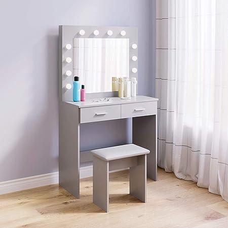 Coiffeuse avec Miroir et Tabouret LED, Hollywood Style Table de Maquillage avec 2 Grands tiroirs, 80x40x140cm, Gris