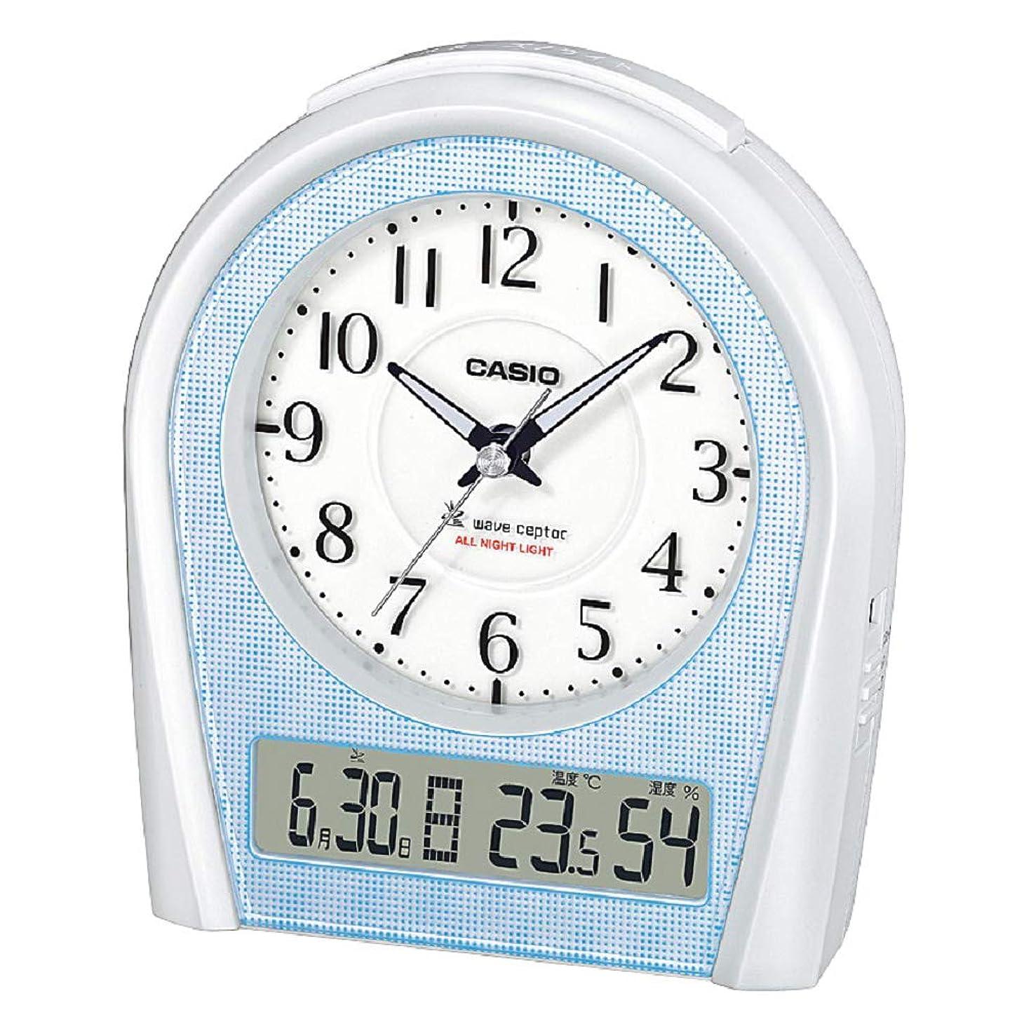 バイバイ悲しむ解釈するCASIO(カシオ) 目覚まし時計 電波 アナログ ウェーブセプター 常時点灯 温度 湿度 カレンダー 表示 シルバー TTM-160NJ-8JF