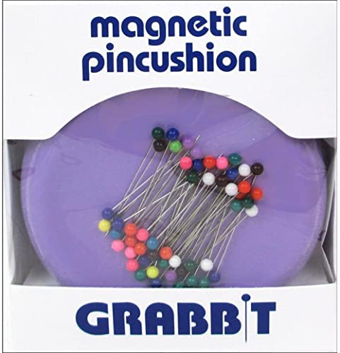 Grabbit Magnetic Sewing Pincushion with 50 Plastic Head Pins, Lavender