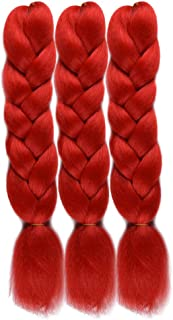 WOME Kanekalon Braiding Hair Extensions Red Color Synthetic Braiding Hair Ombre Jumbo Braids Hair for Gilrs(24Inch,Red)