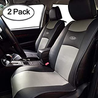Big Ant Waterproof Universal 2 PCS Car Seat Cushion Covers PU Leather Seat Protector Seats Mat Fit for Car,Truck,SUV,or Van -Non-Slip Rubber-Soled - for Driver, Child, Baby Chair&Pet - Black&Gray