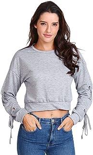 aihihe Teen Girl Womens Sweatshirts Pullover Crop Top Solid Tie Sleeve Long Sleeve Chic Tops Blouses Hoodies Jumper