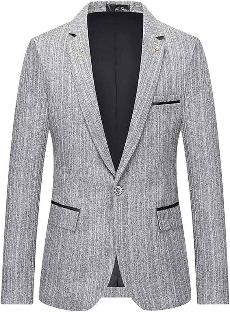 USDBE Mens Wedding Prom Party Slim Fit Smart Casual Suit Jacket Business Suit Jacket