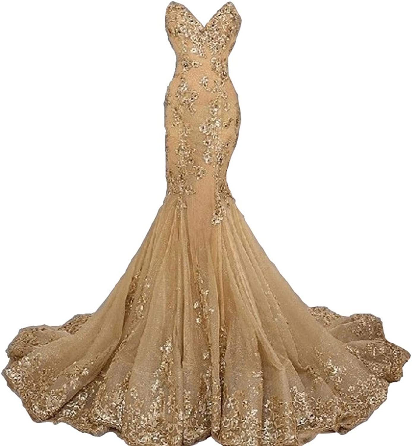 Aries Tuttle Luxury gold Mermaid Wedding Dresses Appliques Beaded Bridal Gown Laceup