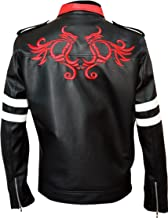 New Men's Dragon Embroidered Black Biker Leather Jackets