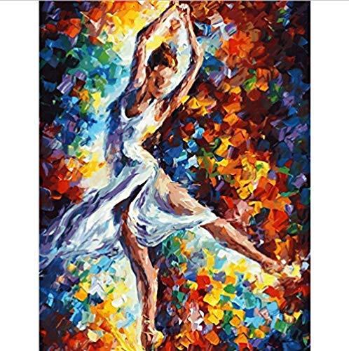 Malen nach Zahlen Tanz Mädchen Tanz Schönheit S für Wohnzimmer Hand Haus Dekoration Bilder Wand Kunst Erwachsene 40 x 50 cm