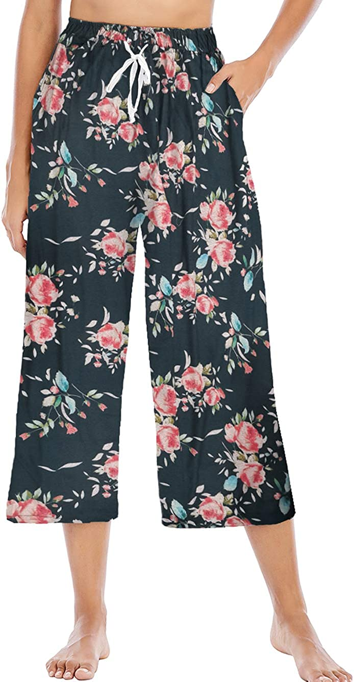 iChunhua Women's Cropped Pants Floral Print Elastic Waist Drawstring Lounge Pants with 4 Pockets