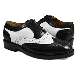 Paul Malone Black and White Wing Tip Spectators 100% Leather