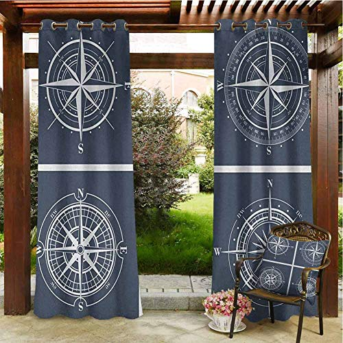 Compass Home Curtains Patio Cabana Porch Gazebo Panel Drapery 96'x108' Set of White Compasses with Navy Blue Background Navigation Sailing Themed Art Navy Blue White