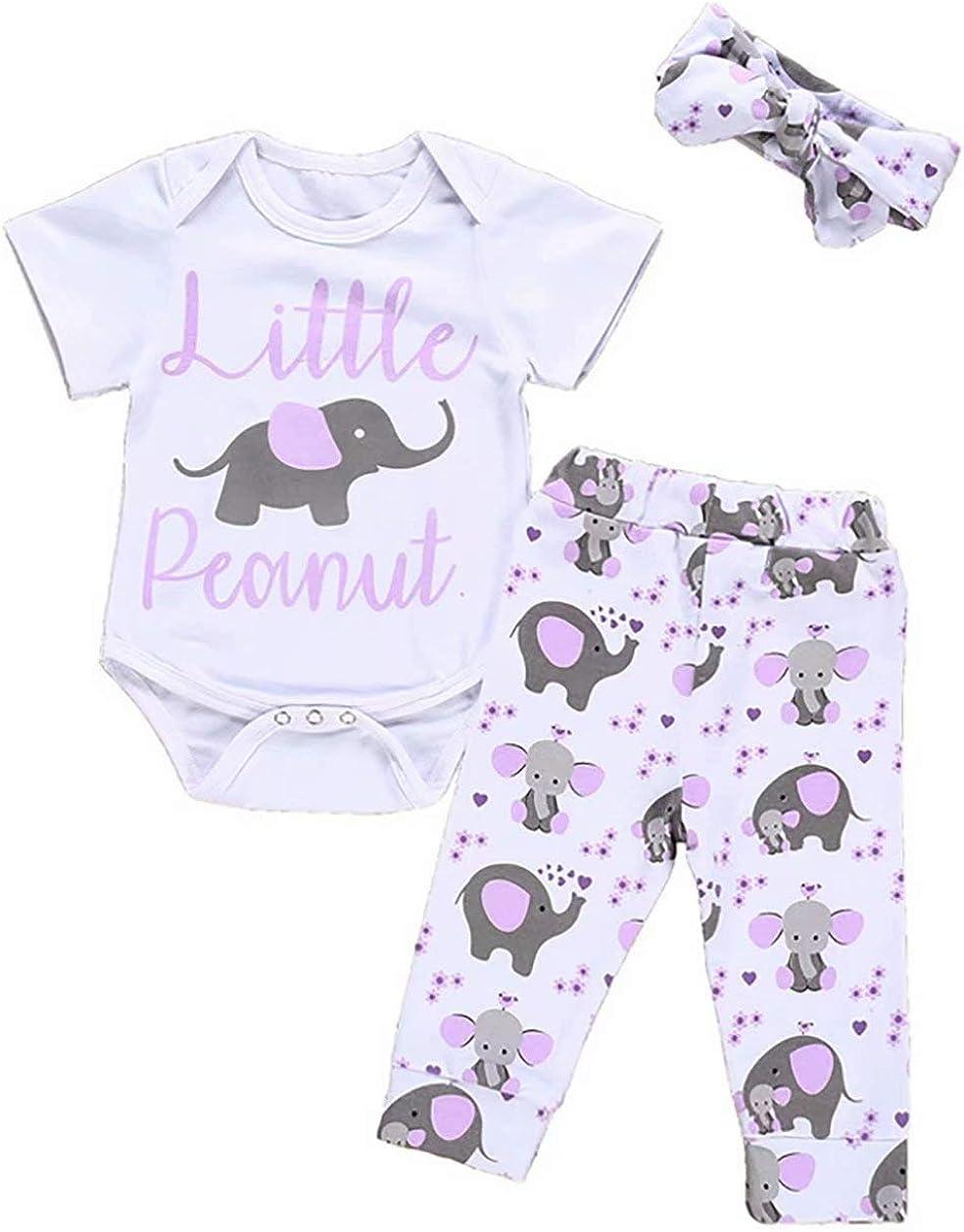 Newborn Baby Girl Boy Little Peanut Romper Set Cartoon Elephant Love Heart Long Sleeve Romper + Pants + Hat Outfit Sets
