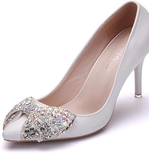 Mariage Mariage Mariage De mariée Chaussures Femmes Haute Talon Soir Printemps Pointu Les Les dames Tribunal Chaussures blanc Strass Pompes Fermé Doigt de pied Taille 35-41 e1e