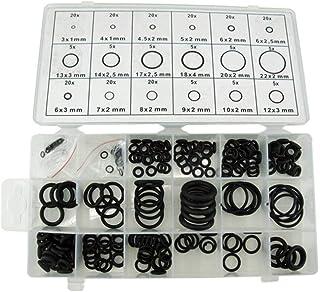 225 pièces/Ensemble de Joints toriques en Caoutchouc Comprend Un Assortiment de Coffrets de Rangement en Plastique (Noir)
