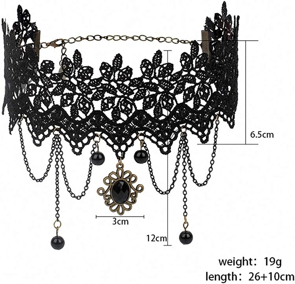 Xileg Bohemia Lace Gothic Tattoo Choker Necklace for Women Vintage Black Acrylic Punk Necklaces Gothic Collar Choker Jewelry