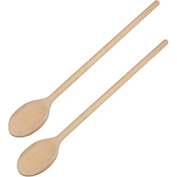 16-Inch Long Handle Wooden Cooking Mixing Oval Spoons, Beechwood-2 (Set of 2)