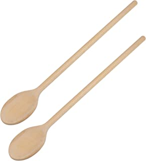 16-Inch Long Handle Wooden Cooking Mixing Oval Spoons, Beechwood (Set of 2)