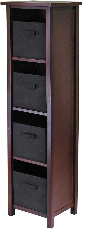 Winsome Wood Verona 5 Super sale Tier Open Foldin Black Popular overseas Cabinet 4 with