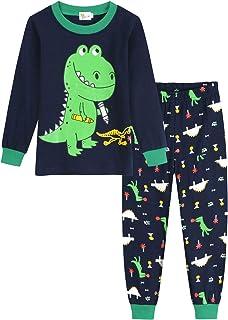 Pijama de Manga Larga para niños pequeños, de algodón, para niños, Ropa de Noche, Excavadora, avión, 2 Piezas, Camisas y Pantalones Largos de 1 a 6 años